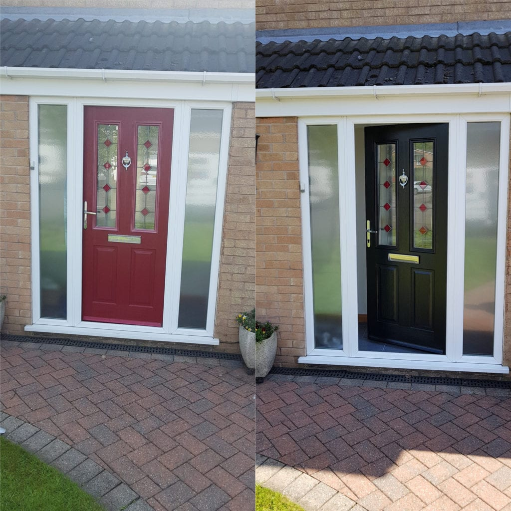 Composite door spraying before and after