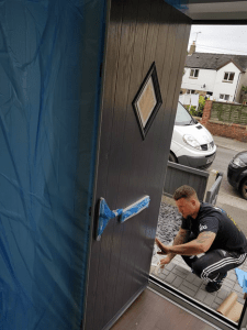 Composite door spraying in Nottigham