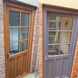 upvc door paint brown to grey